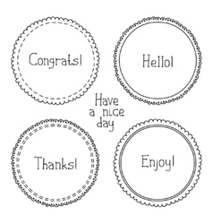 set of hand drawn style badges and elements Doodle vector image vector image
