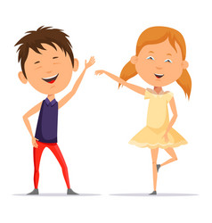 small boy and little child girl dancing smiling vector image vector image