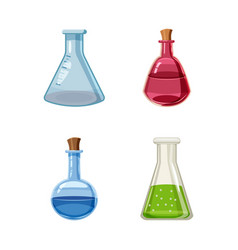 chemical pot icon set cartoon style vector image vector image