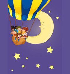 children riding on balloon at night vector image vector image