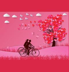 concept of valentine day with a heart shaped tree vector image