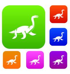 elasmosaurine dinosaur set color collection vector image