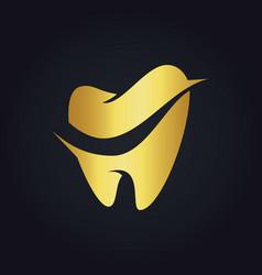 tooth dental gold logo vector image