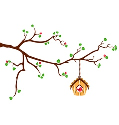 Tree branch with hut style bird house vector image vector image