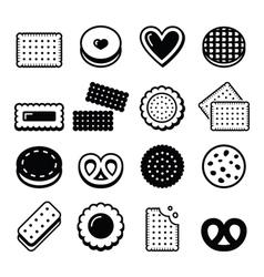 Biscuit cookie - food icons set vector image vector image