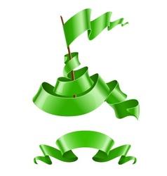 Flapping flag and ribbon vector image vector image