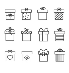 Gift boxes thin line icons vector