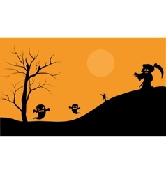 Halloween warlock and ghost scary silhouette vector image vector image