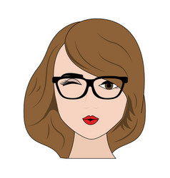 sexy woman with glasses cartoon vector image