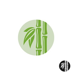 Bamboo logo Leaves and stem in a round badge vector image