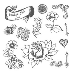 flowers and leaves hand painted vector image