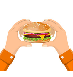 hamburger holding in hand eating fast food vector image vector image
