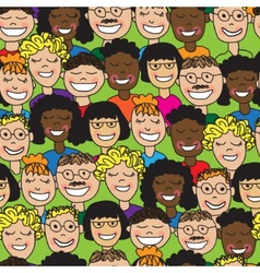 seamless human faces vector image vector image