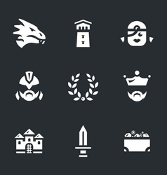 Set of dragon story icons vector