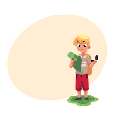 teenage caucasian boy with a backpack studying map vector image vector image