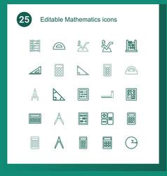 25 mathematics icons vector image
