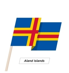Aland Island Ribbon Waving Flag Isolated on White vector image