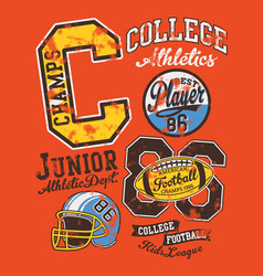 american football junior college league vector image