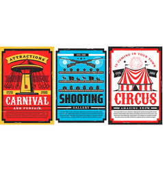 amusement park rides circus carnival retro posters vector image