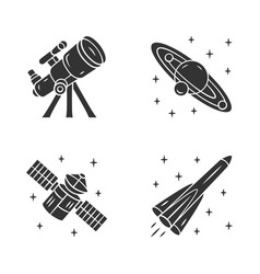 Astronomy glyph icons set space exploration vector