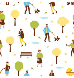 Autumn park pattern with people vector