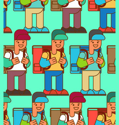 back to school seamless pattern boy and backpacks vector image