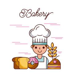 bakery baker character cake bread donut wheat vector image