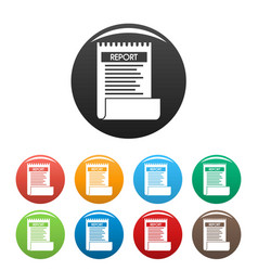 bill paper report icons set color vector image