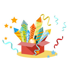 box with fireworks firecrackers set for the vector image