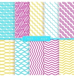 Bright and simple yellow pink and blue pattern set vector image