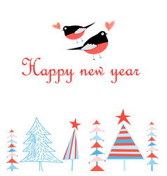 bright new year greeting card with in love with vector image