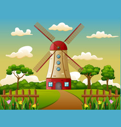 building tower in farm background vector image