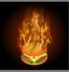 burning fresh hamburger with fire flame vector image