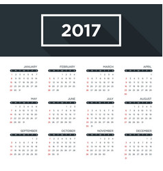 Calendar 2017 for a year simple flat design vector