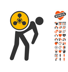 Chemical courier icon with dating bonus vector