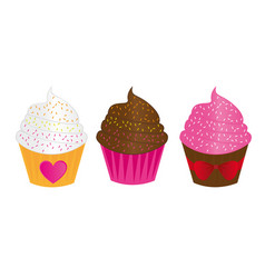 chocolatestrawberry and vanilla cute cup cakes vector image