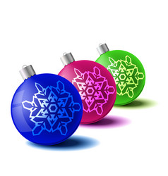 Christmas ball set new year concept vector