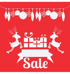 Christmas design over red background vector image