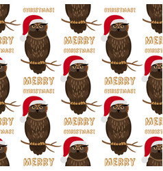 christmas owl with santa hat seamless pattern vector image
