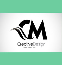 Cm c m creative brush black letters design with vector