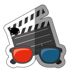 Colorful sticker with clapperboard cinema and 3d vector