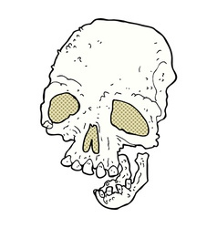 comic cartoon ancient spooky skull vector image vector image