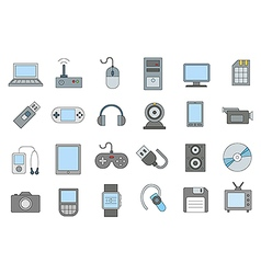 Computer technologies colorful icons set vector