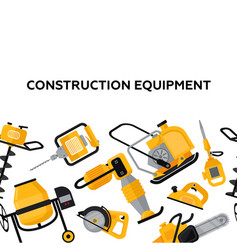 Construction equipment banner in flat style vector