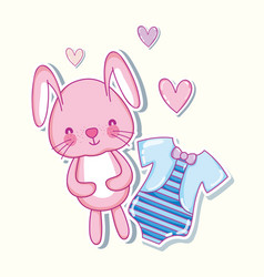 Cute bunny and shirt hearts cartoons vector