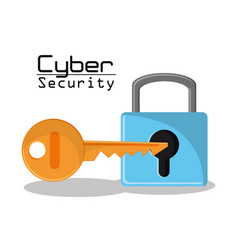 cyber secuirty padlock key protection data access vector image