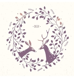 Deer frame branches vector