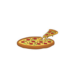 delicious big tray of pizza slice logo vector image