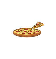 Delicious big tray of pizza slice logo vector