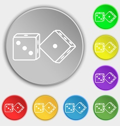 Dices icon sign Symbol on eight flat buttons vector